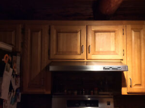 Oak Kitchen Cupboards, Island and Refrigerator