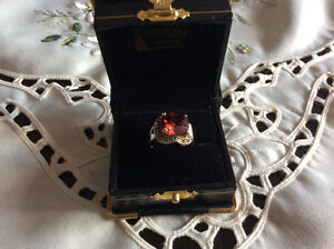 Beautiful Sterling Silver Garnet Ring Stamped 925