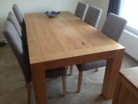 Solid birch / Oak veneer Dining Table