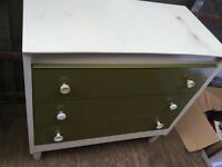 Retro bedroom furniture, chest of drawers, dressing table