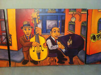 Rafuse jazz stretched canvas triptych