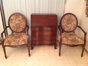 Antique Mahogany Drop Front Desk and 2 Large Chairs