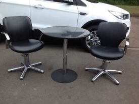 Round Marble Bistro Dining Table & 2 Chairs