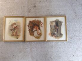 3 FRAMED PRINTS OF CHILDREN PLAYING