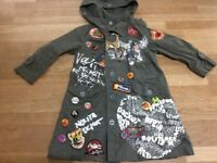 Nolita pocket designer girls coat with badges, print etc, age 3-4 years