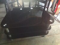 T.V. Stand Glass and crome