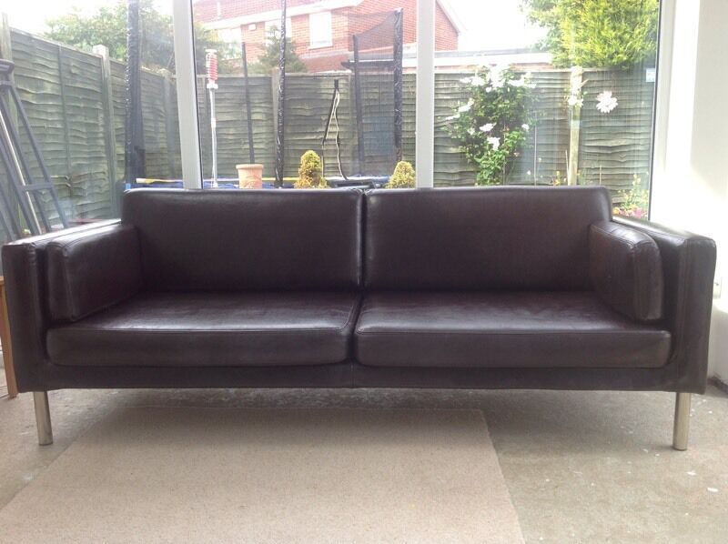 Ikea Sater Dark Brown Leather Sofa Couch