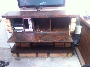Fack fireplace with bar and radio inside