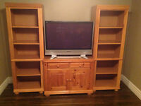 TV stand and open shelf units,