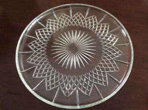 Vintage Anchor Hocking pressed clear glass torte cake platter