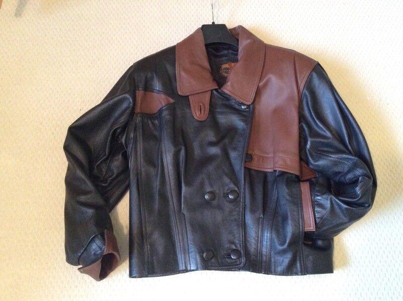 Ladies black & brown Designer jacket. Genuine Leather (M)