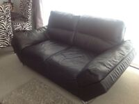Stylish black leather sofa couch settee