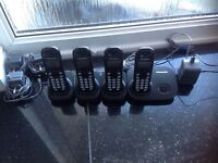 Panasonic DECT wireless cordless rechargeable digital handset telephones Pack of 4