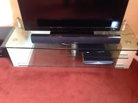 Beech and glass tv unit