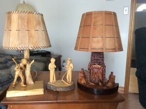 Lamps - 2 Hand carved lamps  and 1 hand carved decorative piece