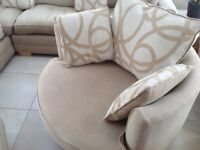 Corner sofa, with swivel chair and puffet with storage