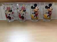 Set of four Disney glass tumblers