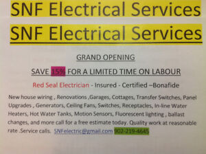 SNF Electrical Services/Residential & Commercial Save 15 %