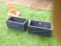 Pair of dark grey fibrecotta trough planters