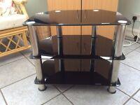 Black glass TVs table
