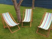 Child's wooden deck chairs