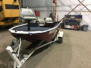 boat with trailer and mercury  50hp motor.