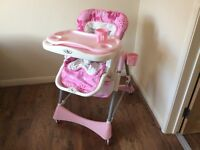 High chair baby feed pink