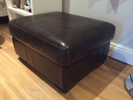 Brown faux leather puffet/ foot stool