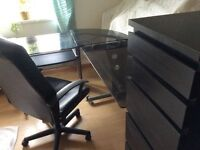Corner glass desk
