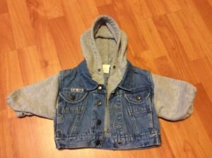 Jean Jacket with built-in hoodie, size 12 months