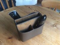 Remote controls and notepad holder, swirling base, leather look