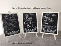 Wedding chalkboards easels