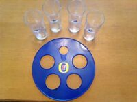 Fosters Lager glass carrier and glasses