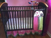 5pc bed nursery set hand made in massive pin wood LIKE NEW!!!