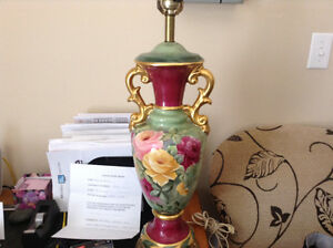 Stunning antique hand painted lamps