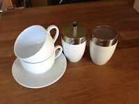 Coffee Cups & Saucers with Sugar Pourer and Chocolate Sprinkler