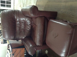 Leather rocker chair with stool