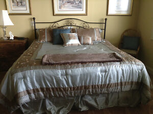 King size bed, frame,box spring, mattress and duvet cover