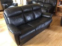 Black real leather suite in excellent condition