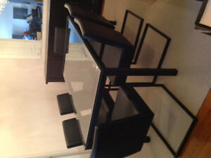 Glass top dining table and 6 leatherette chairs