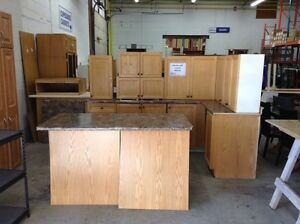 Kitchen with Island at the Waterloo Restore