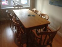 Farm house style dining table and chairs