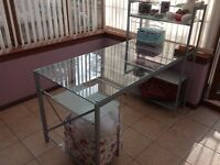 Glass desk table with shelves
