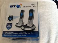 Brand new BT2700 Twin Nuisance Call Blocker Digital Cordless phone with Answer Machine