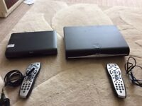 Two sky boxes and remotes- Sky HD and Sky HD+