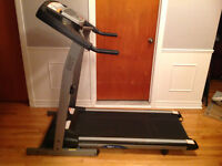 Treadmill + weights and bench + Tv