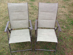2 folding metal frame chairs - clean no rips condition-each $15