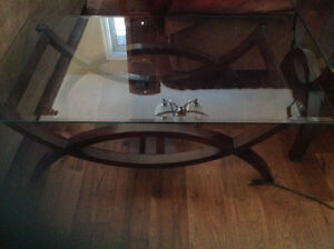 Glass coffee and 1 matching end table