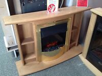 "Electric Suite in Oak effect with shelves includes 16"" Electric Fire, Freestanding, 2KW Fan Heater"
