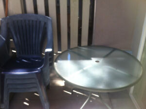 Green Patio Glass Table, And Four (4) Matching Chairs
